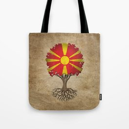 Vintage Tree of Life with Flag of Macedonia Tote Bag