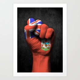 Bermuda Flag on a Raised Clenched Fist Art Print