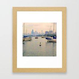 Lake by the City Framed Art Print