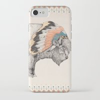 buffalo iPhone & iPod Cases featuring White Bison by Sandra Dieckmann