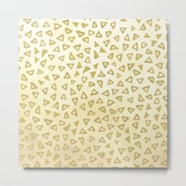 Gold Glitter Triangles Metal Print