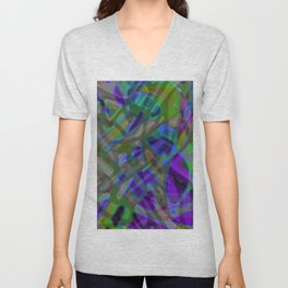 Colorful Abstract Stained Glass G301 Unisex V-Neck