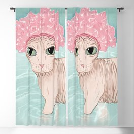 No Hair Don't Care - Sphynx Cat Wearing a Shower Cap in a Bathtub - Wrinkly Hairless Kitty Blackout Curtain
