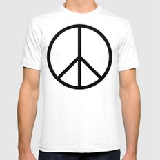 CND Peace Symbol SMALL White Mens Fitted Tee