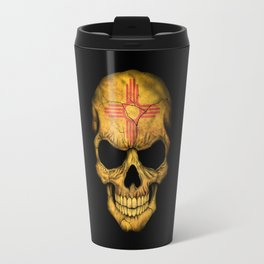 Dark Skull with Flag of New Mexico Travel Mug
