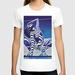 9124s-KMA Powerful Nude Woman Open and Free Striped in Blue T-shirt