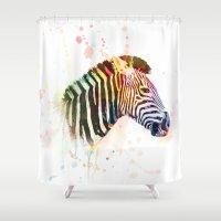 zebra Shower Curtains featuring Zebra by emegi