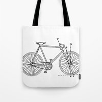 blueprint Tote Bags featuring Bicycle Blueprint by BravuraMedia