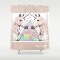 bitch Shower Curtains featuring UNICORN BITCH! by Jade Shields