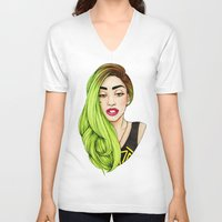 lady V-neck T-shirts featuring Lady Neon by Helen Green