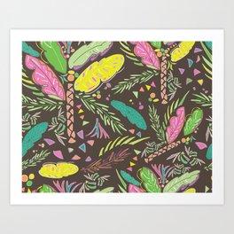 Retro tropical island party pattern Art Print