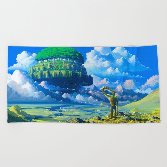 Castle in the sky Beach Towel