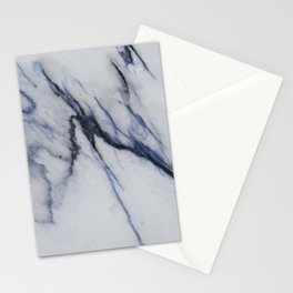 White Marble with Black and Blue Veins Stationery Cards