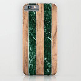 Striped Wood Grain Design - Green Granite #901 iPhone Case