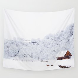 Cabin in the Snow (Color) Wall Tapestry