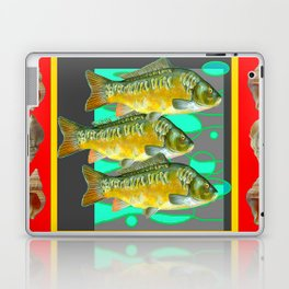 SEA SHELLS YELLOW-RED FISH AQUATIC ART VIGNETTE Laptop & iPad Skin