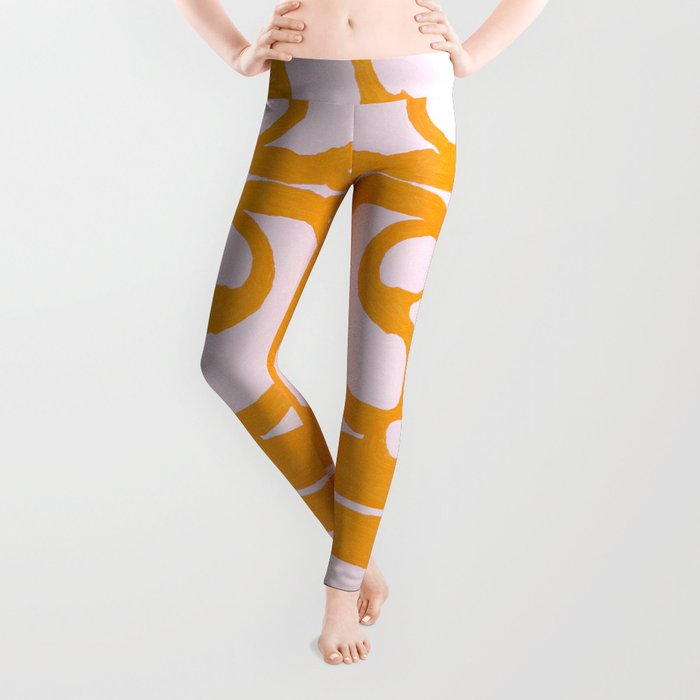 Abstract in Yellow and Cream Leggings