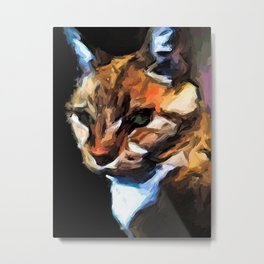 Cat of Gold in the Light and Shadows Metal Print