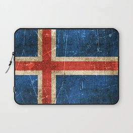Vintage Aged and Scratched Icelandic Flag Laptop Sleeve