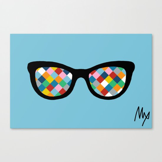 Diamond Eyes on Blue Canvas Print