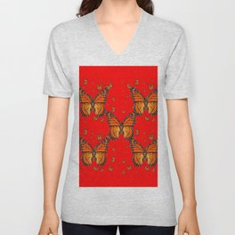 ORANGE MONARCH BUTTERFLIES RED MODERN ART MONTAGE Unisex V-Neck