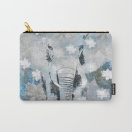 ELEPHANT AND FLOWERS Carry-All Pouch