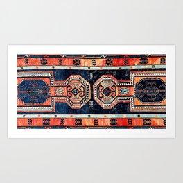 Davagin  Antique Daghestan East Caucasus Kilim Art Print
