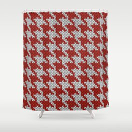 Classic houndstooth knitted Red & White Shower Curtain