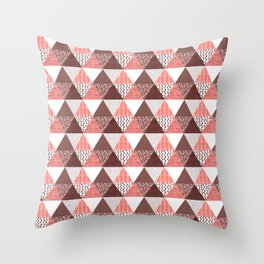 Triangle Quilt in Red Throw Pillow