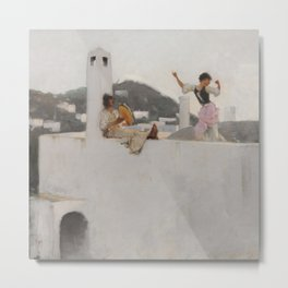 Classical Masterpiece Capri Girl on a Rooftop by John Singer Sargent Metal Print