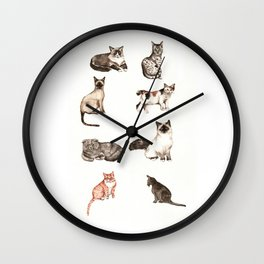 For cat lovers - watercolor of different cat breeds Wall Clock
