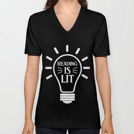 Reading Is Lit Bulb T-Shirt Nice Literature Tee Unisex V-Neck