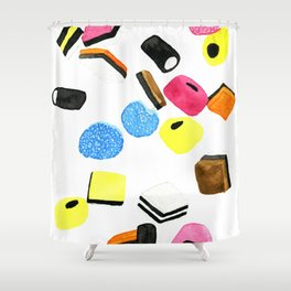 Watercolor Licorice Candy Sweets Shower Curtain