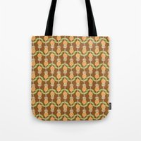 70s Tote Bags featuring 70s Flowers by Apple Kaur