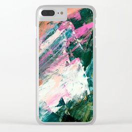 Meditate [5]: a vibrant, colorful abstract piece in bright green, teal, pink, orange, and white Clear iPhone Case