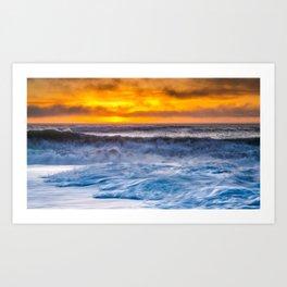 Waves Pound the Beach at Sunset Art Print