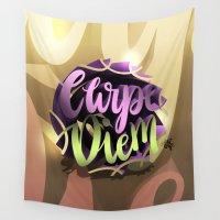 carpe diem Wall Tapestries featuring Carpe Diem by Art4Anj