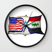 flag Wall Clocks featuring Flag by ℳajd