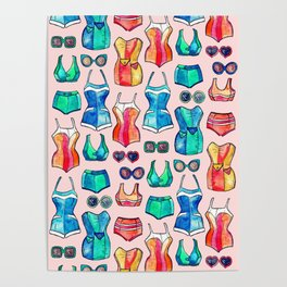 Sixties Swimsuits and Sunnies on blush pink Poster