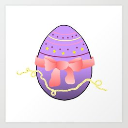 Egg and Pink Bow 01 Art Print