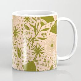 Wildflowers Repeat Pattern Moss Green Blush Pink Cottagecore Simple Life Coffee Mug