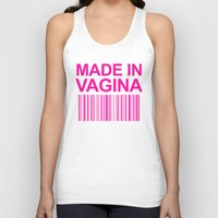 vagina Tank Tops featuring MADE IN VAGINA BABY FUNNY BARCODE (Baby Girl Pink) by CreativeAngel