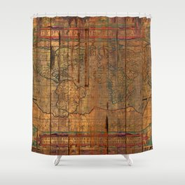 Distressed Old Map Shower Curtain