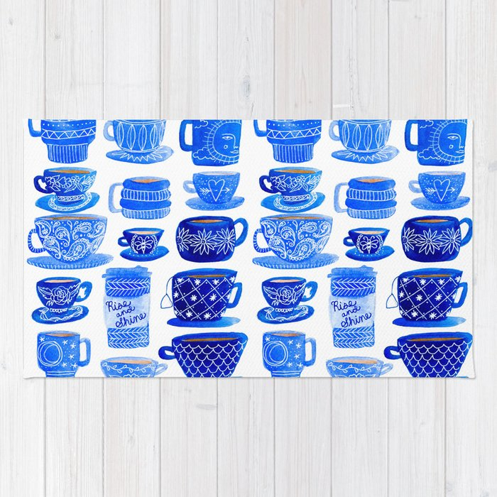 Coffee Mugs and Tea Cups - A study in blues Rug