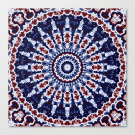 Mandala Fractal in Red White and Blue 02 Canvas Print