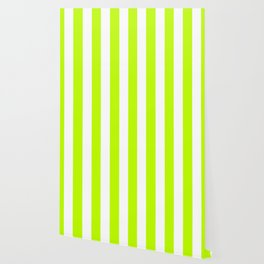 Lime (color wheel) - solid color - white vertical lines pattern Wallpaper