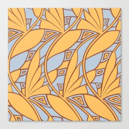 Modern art nouveau tessellations gamboge azure Canvas Print