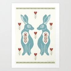Folk Hare Pair Love Art Print