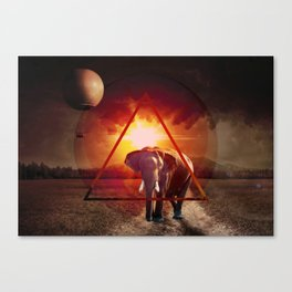 An elephant at sunset by GEN Z Canvas Print