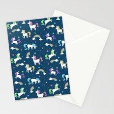 Unicorns and Rainbows - teal -tiny Stationery Cards